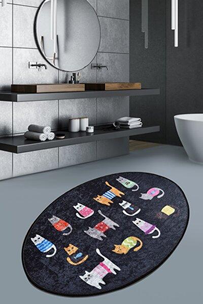 Black Cats Oval Djt 60x90 cm Banyo Paspası, Banyo Halısı