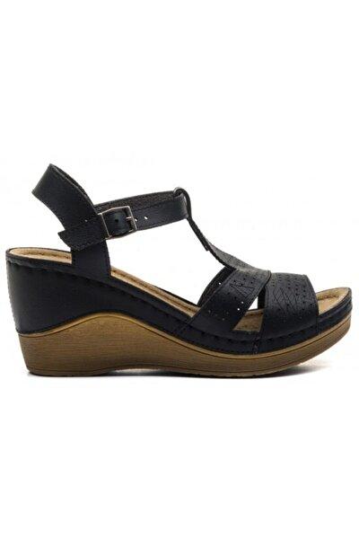Kadın Siyah Yüksek Taban Anatomik Sandalet 170605