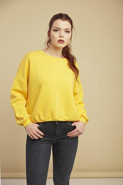 Kadın Sarı Bisiklet Yaka Sweatshirt Cty-abr-7216