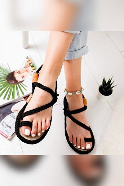 Kadın Siyah Alexandrea Comfort Halat Sargılı Sandalet