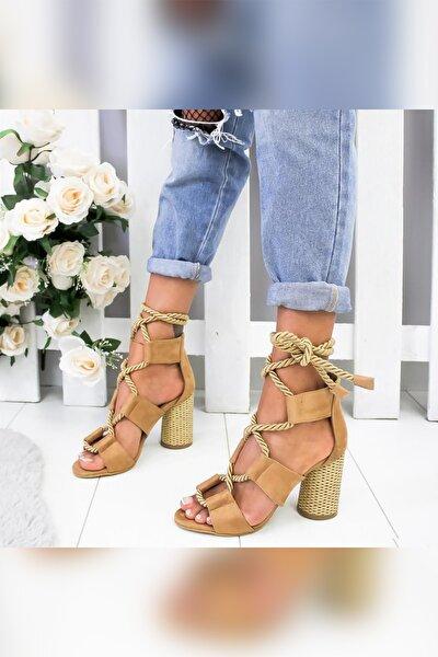 Kadın Kum Hasır Topuklu Ayakkabı