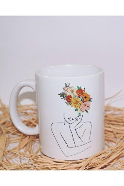 Beyaz Çiçekli Kadın Çizgisel Kupa