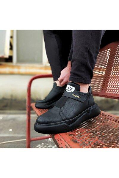 Erkek Siyah Kömür Yüksek Taban Ayakkabı