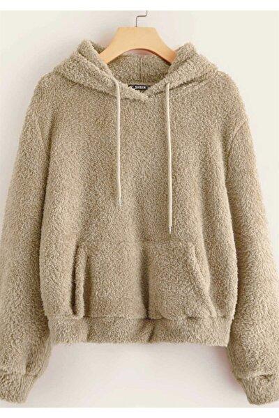 Kadın Camel Peluş Kapüşonlu Sweatshirt Mg818