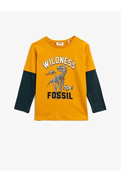 Erkek Çocuk Pamuklu Baskili Uzun Kollu Bisiklet Yaka T-Shirt