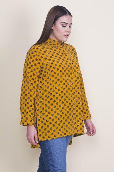 Kadın Hardal Ön Boy Düğmeli Manşetli Gömlek 65N21915