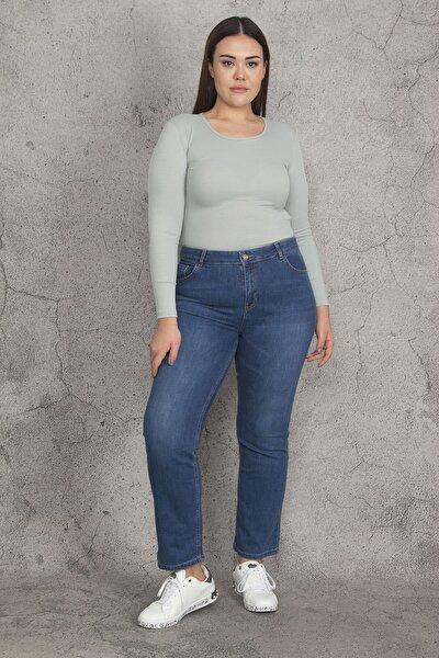 Kadın Mavi 5 Cepli Likralı Kot Pantolon 65N21988