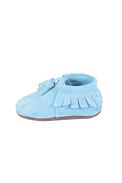 Hakiki Deri Bebe mavi Süet PonPon Detaylı Bebek Patik