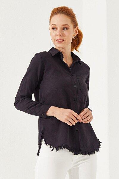 Kadın Siyah Püsküllü Pamuk Gömlek