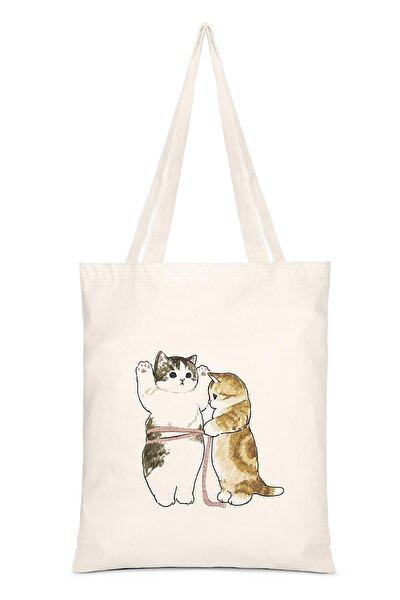 Cats Size Baskılı Bez Çanta