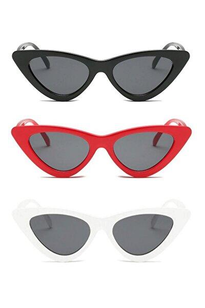 Retro Üçgen Cat Eye Güneş Gözlüğü Siyah Kırmızı Beyaz 3′lü