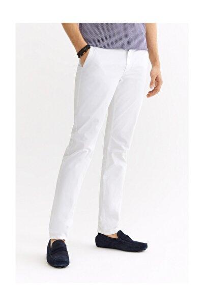 Erkek Beyaz Yandan Cepli Armürlü Slim Fit Pantolon A01s3071