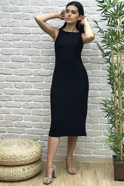 Kadın Kolsuz Kaşkorse Midi Boy Elbise 25049