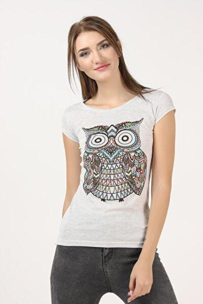 Kadın Kar Melanj Baykuş Baskılı Tişört