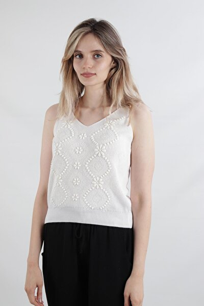 Desenli Bluz, Beyaz (Tt2482)