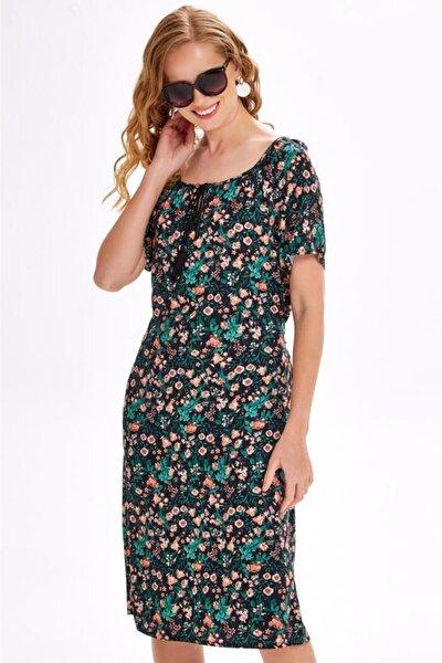 Yakası Kordonlu Beli Kuşaklı Elbise 020-4036