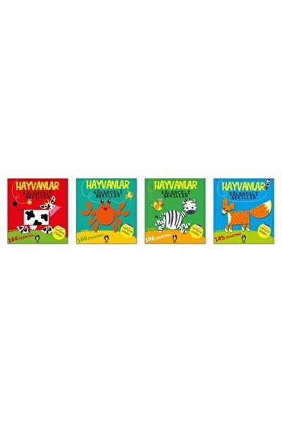 Hayvanlar Eğlenceli Şekiller Seti-4 Kitap Takım