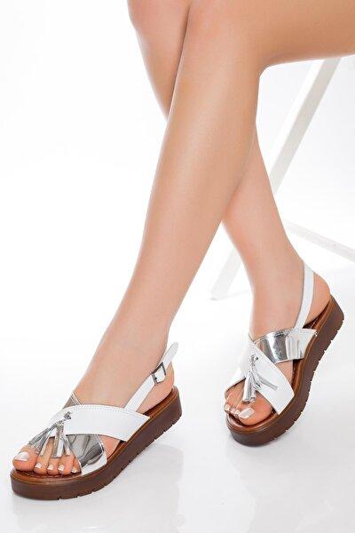 Hakiki Deri Beyaz Gümüş Kadın Deri Sandalet Rma-3110