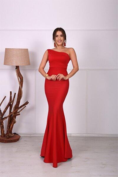 Tek Kol Balık Abiye Elbise - Kırmızı