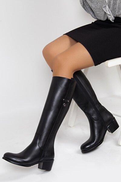 Hakiki Deri Siyah Kadın Deri Çizme Dp01-2073
