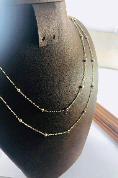 Altın Yaldız Kaplama Toplu Gümüş Bayan Zincir (90 Cm)
