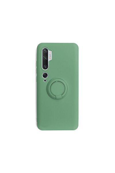Xiaomi Mi Note 10 Yüzüklü Standlı Yeşil Silikon Telefon Kılıfı