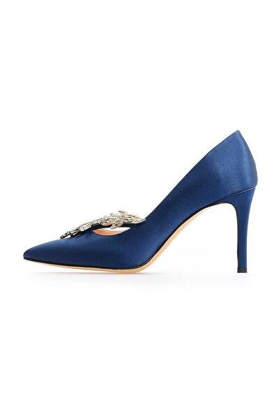 Lacivert Saten Taşlı Topuklu Ayakkabı