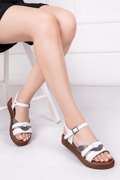 Hakiki Deri Beyaz X3 Kadın Deri Sandalet Dp-1014