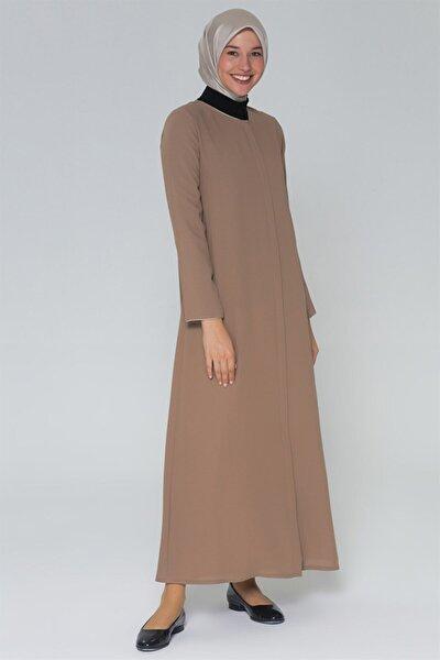 Kadın Sütlü Kahve Fermuarlı Elbise 20ya5001