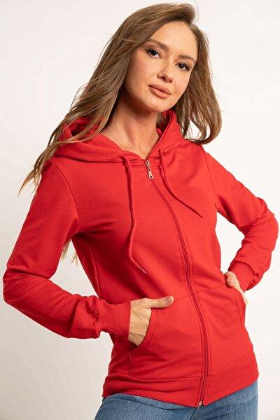 Fermuarlı Kapşonlu Sweatshirt Kırmızı