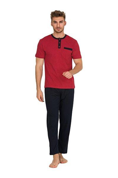 9288 Kırmızı Bisiklet Yaka Stars Kısa Kol Erkek Pijama Takımı