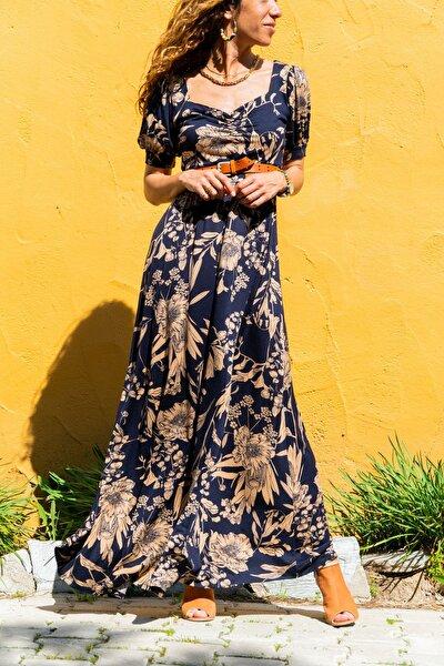 Kadın Lacivert Öpücük Yaka Karpuz Kol Kiloş Uzun Elbise Gk-td403