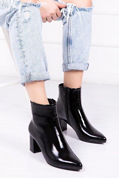 Hakiki Deri Siyah Rugan Kadın Topuklu Deri Bot Dp02-0001