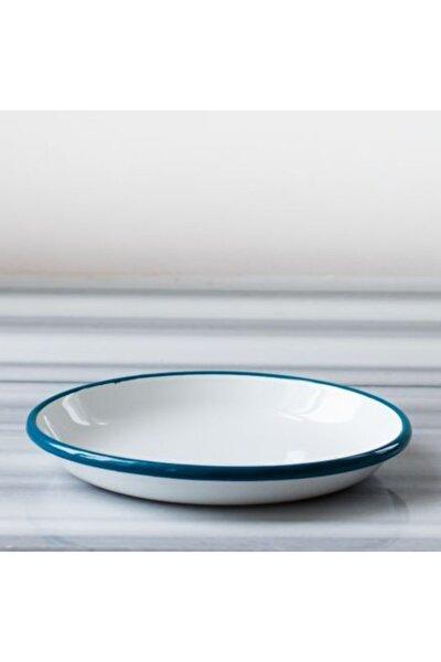Beyaz Mavi Emaye Tabak