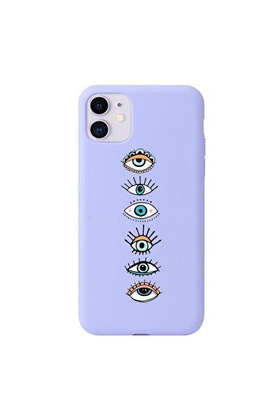 Renkli Gözler Lila Lansman Iphone 11 Telefon Kılıfı