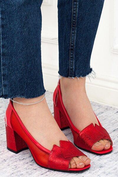 Kırmızı Kırışık Şeffaf Detay Kısa Topuk Kadın Günlük Ayakkabı • A202ystm0002
