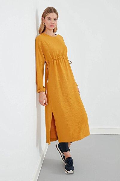 Elbise Sıfır Yaka- Belden Büzgülü, Yanlardan Bağlama Detaylı, Uzun Kol