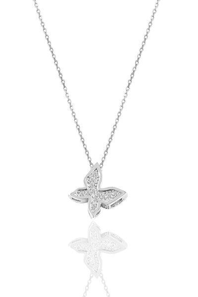 Gümüş Rodyumlu Zirkon Taşlı Kelebek Kolye