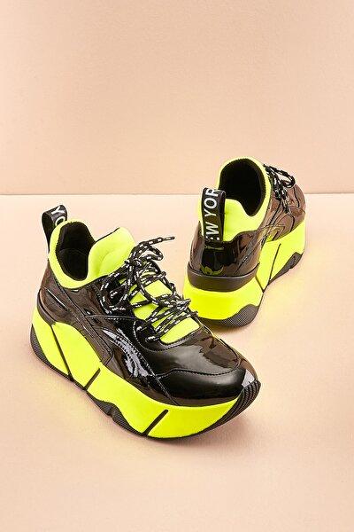 Siyah/sarı Streç Kadın Sneaker