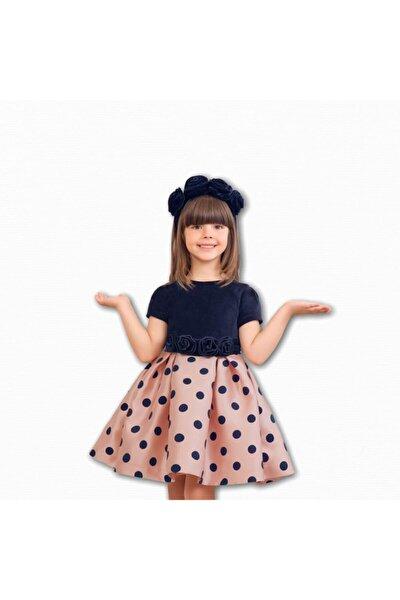 Abel&lula Kız Çocuk Puantiyeli Lacivert Pembe Elbise