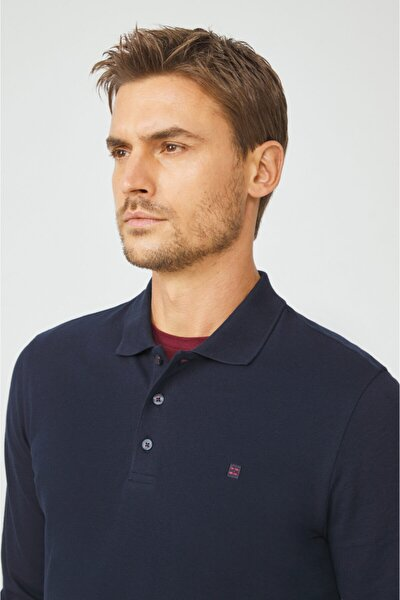 Erkek Lacivert Polo Yaka Düz Sweatshirt E001003