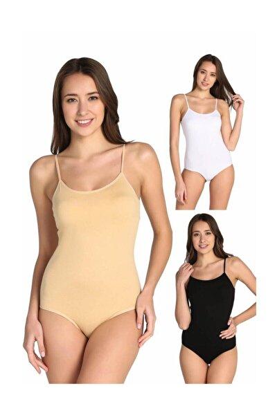 Kadın Karışık Renk 3'lü Ip Askılı Likralı Kancalı Çıtçıtlı Body Elf568t0148ccm3 Karışık Renk Xl