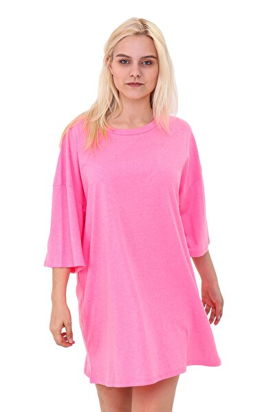 Neon Pembe Oversize T-shirt Elbise