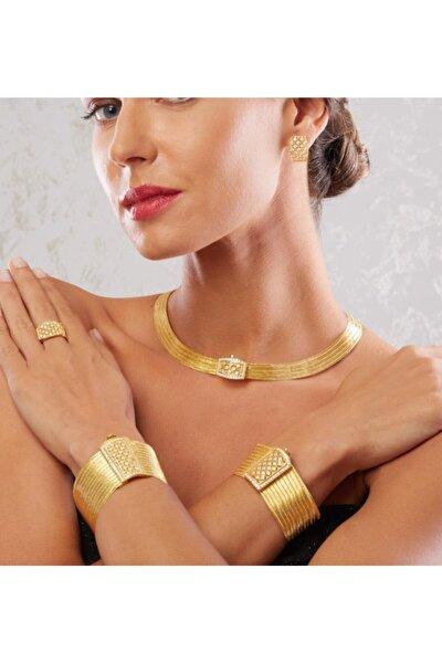 11 Sıra Bileklik 5 Sıra Gerdanlık Prenses Toka Altın Kaplama Gümüş Trabzon Hasırı Set