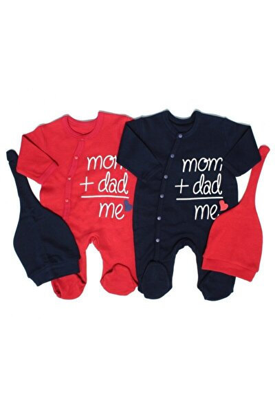 Erkek Bebek Tulum Baby Mom Dad Me 2li