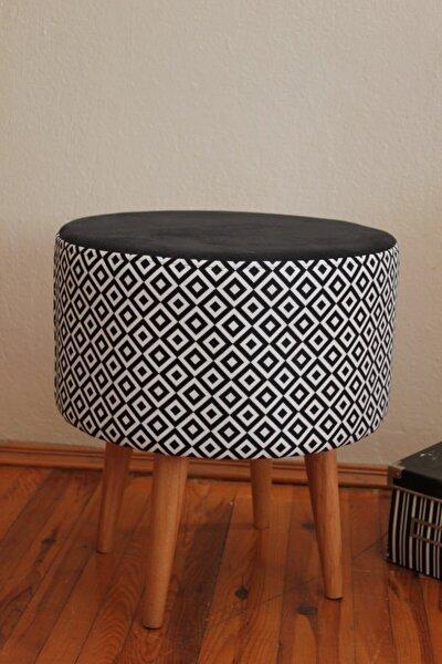 Gürgen Ahşap Retro Ayaklı Dekoratif Kare Desenli Modern Silindir Puf Bench Koltuk Sandalye