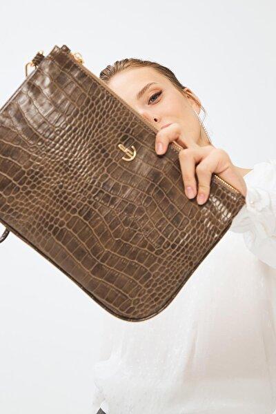 Kadın Basic Clutch Çanta Kroko Timsah Desen Eskitme Vizon 214002