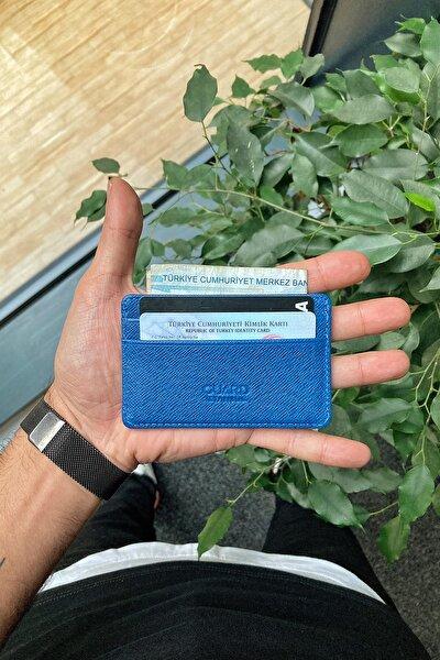Hakiki Deri Kartlık - Ultra Küçük / Mavi Saffiano