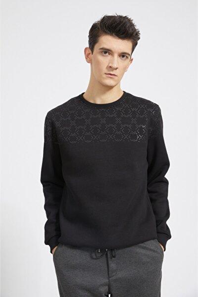 Erkek Siyah Bisiklet Yaka Baskılı Sweatshirt A02y1052
