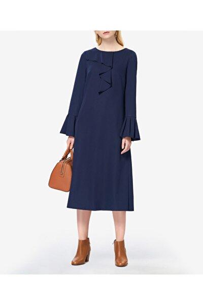 Fırfırlı Lacivert Elbise S43908210